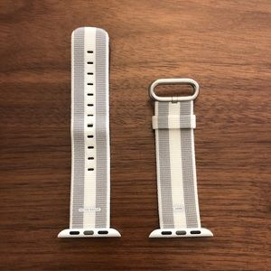 Apple 38mm Woven Nylon Band Watch Strap white/gray